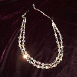 Iridescent 2 stranded crystal beaded necklace